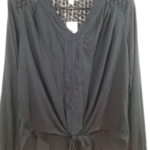 Women's Style & Co Tie Front Pullover Blouse L $49